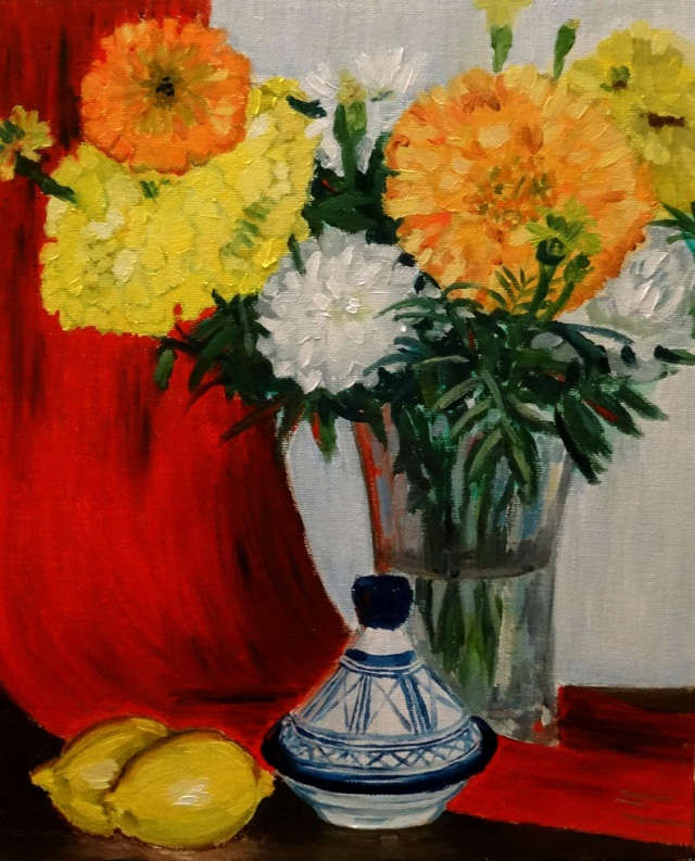 01/08/2014 : Citrons et Fleurs - Huile sur toile 24 x 30 cm