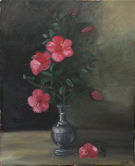 08/09/2014 : Vase en étain et fleurs - Huile sur toile