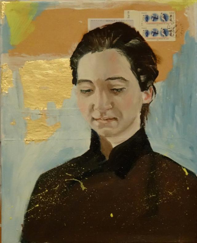 08/03/2015 : Portrait et Collage - Huile sur toile et enveloppe craft timbrée, feuille d'or 33 x 41 cm