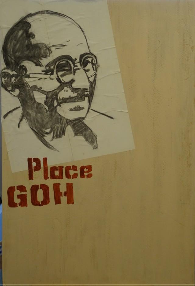 09/03/2015 :  fond de Toile pour portrait - Acrylique et collage sur toile 90 x 133 cm