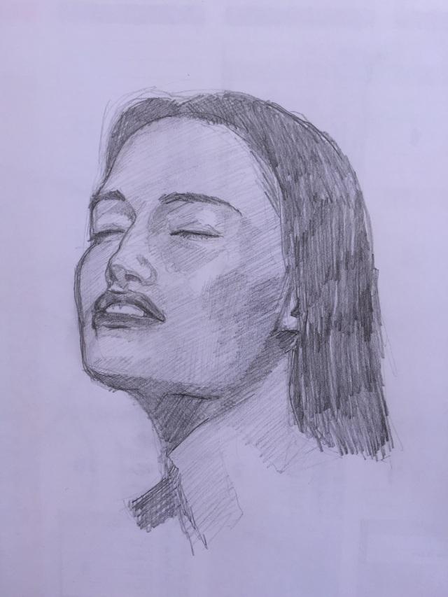 20/09/2015 Visage de femme - 20 x 20 cm crayon à papier