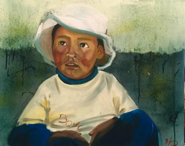 21/10/2015 Enfant 1ere version - huile sur toile 40 x 50 cm