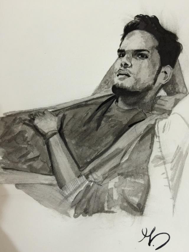 20/11/2015 : Juan-Carlo de Quito - encre et stylo bille 20 x 20 cm