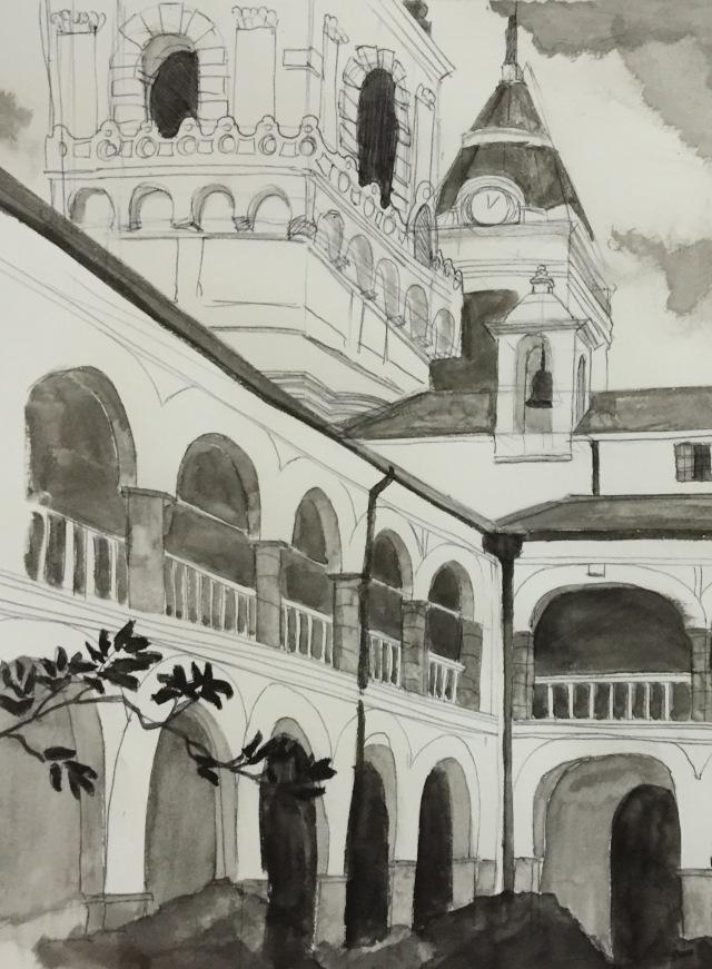 21/11/2015 : Convento San Francisco - encre et stylo bille 20 x 20 cm