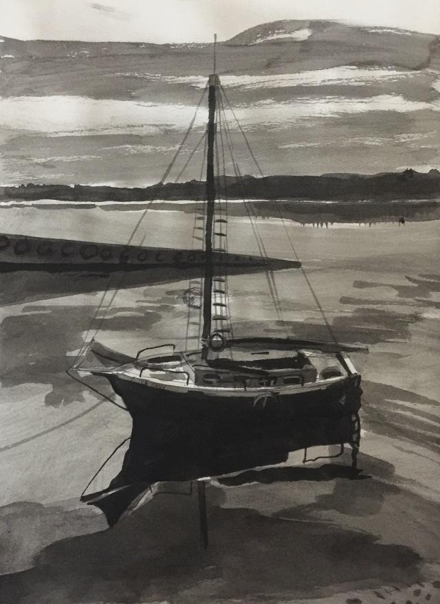 17/04/2016 - La barque 21 x 29,7 cm encre de chine